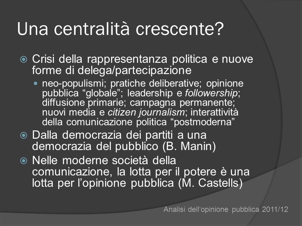 Una centralità crescente? Crisi della rappresentanza politica e nuove forme di delega/partecipazione neo-populismi; pratiche deliberative; opinione pu
