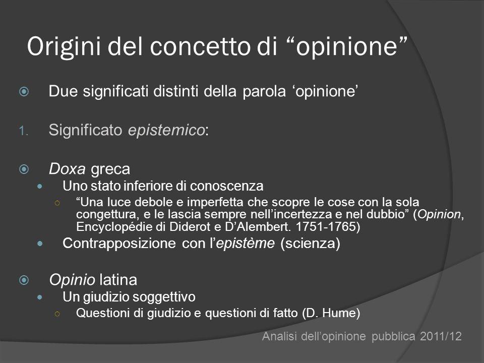 Origini del concetto di opinione Due significati distinti della parola opinione 1. Significato epistemico: Doxa greca Uno stato inferiore di conoscenz