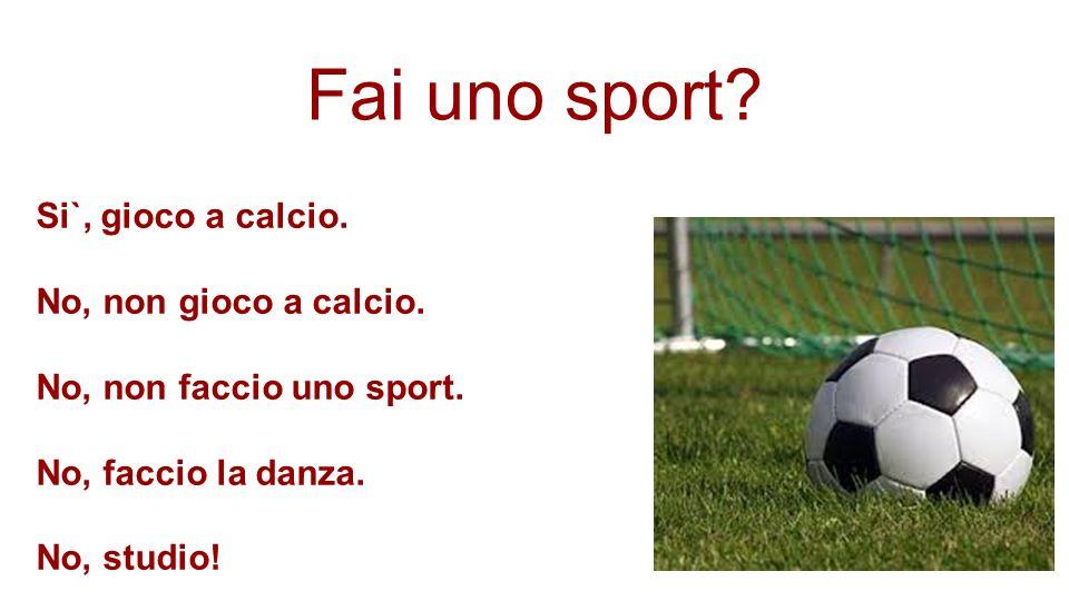 Fai uno sport? Si`, gioco a calcio. No, non gioco a calcio. No, non faccio uno sport. No, faccio la danza. No, studio!
