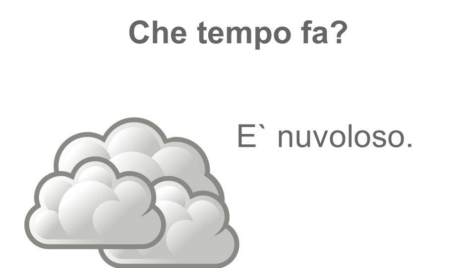 Che tempo fa? E` nuvoloso.