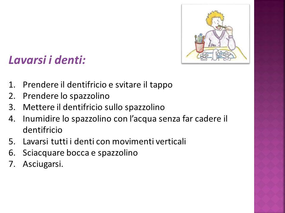 Lavarsi i denti: 1.Prendere il dentifricio e svitare il tappo 2.Prendere lo spazzolino 3.Mettere il dentifricio sullo spazzolino 4.Inumidire lo spazzo