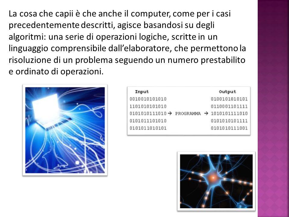 La cosa che capii è che anche il computer, come per i casi precedentemente descritti, agisce basandosi su degli algoritmi: una serie di operazioni log