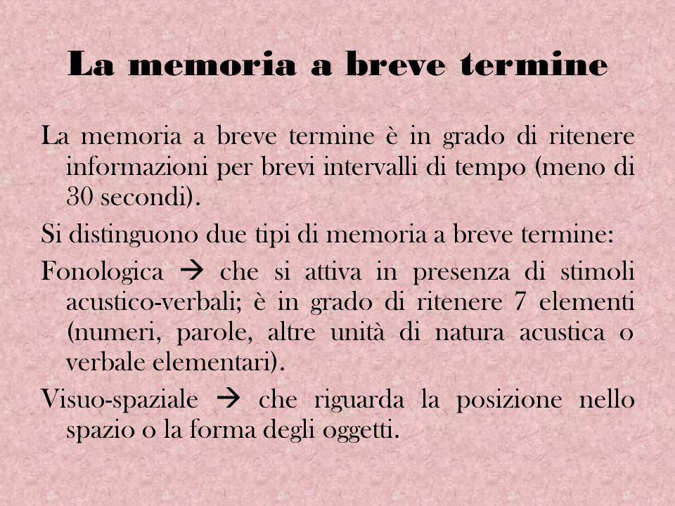 La memoria a breve termine La memoria a breve termine è in grado di ritenere informazioni per brevi intervalli di tempo (meno di 30 secondi). Si disti