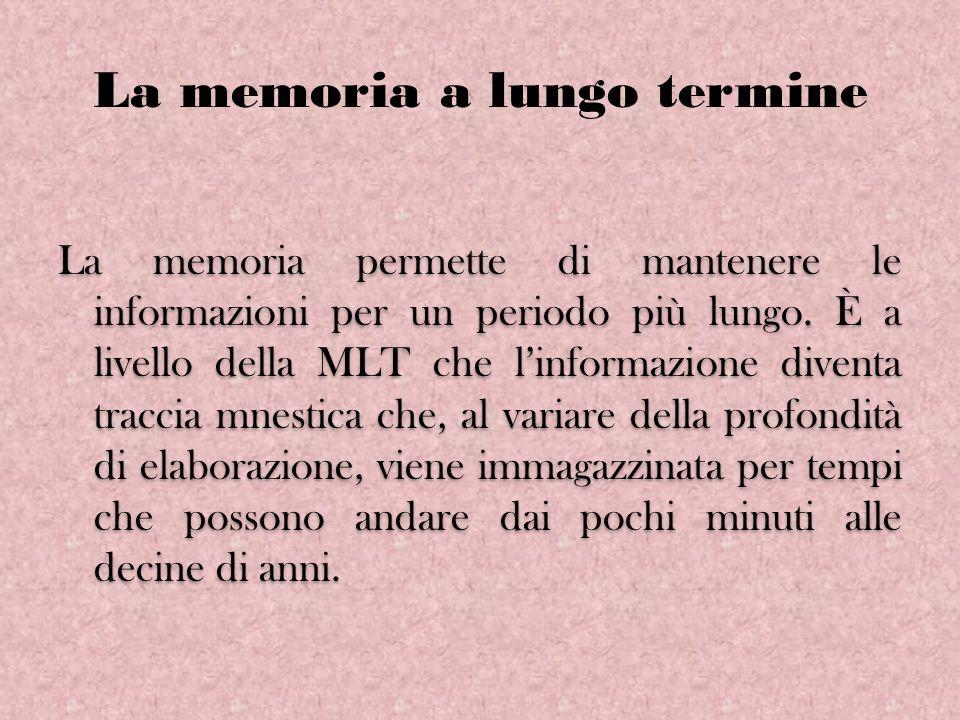 La memoria a lungo termine La memoria permette di mantenere le informazioni per un periodo più lungo. È a livello della MLT che linformazione diventa
