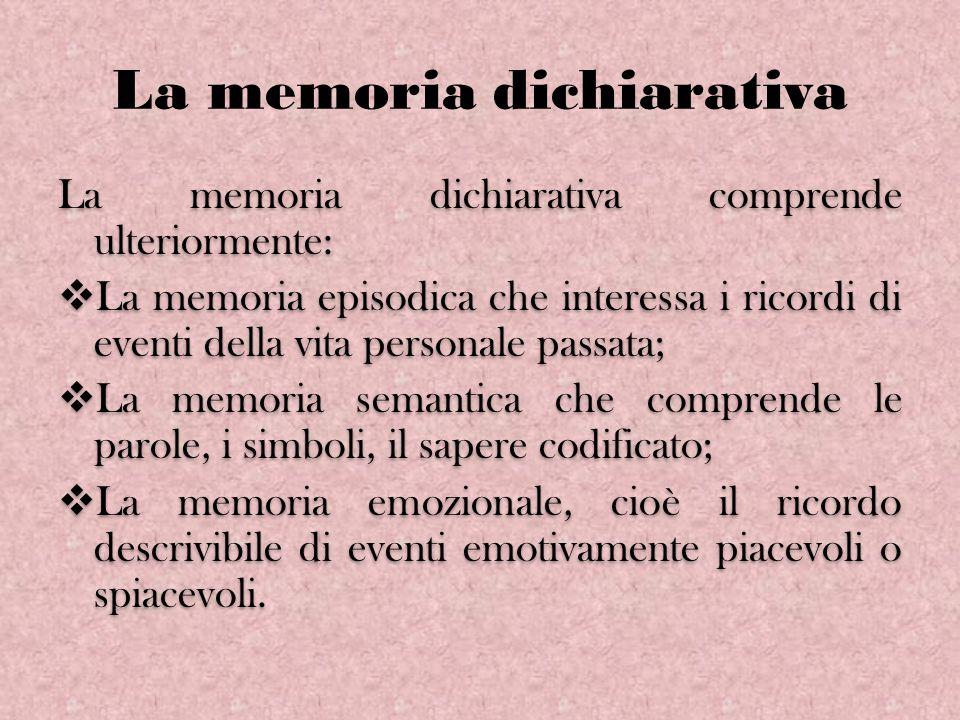 La memoria dichiarativa La memoria dichiarativa comprende ulteriormente: La memoria episodica che interessa i ricordi di eventi della vita personale p