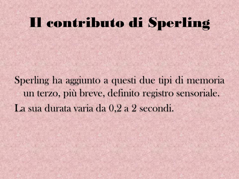 Il contributo di Sperling Sperling ha aggiunto a questi due tipi di memoria un terzo, più breve, definito registro sensoriale. La sua durata varia da