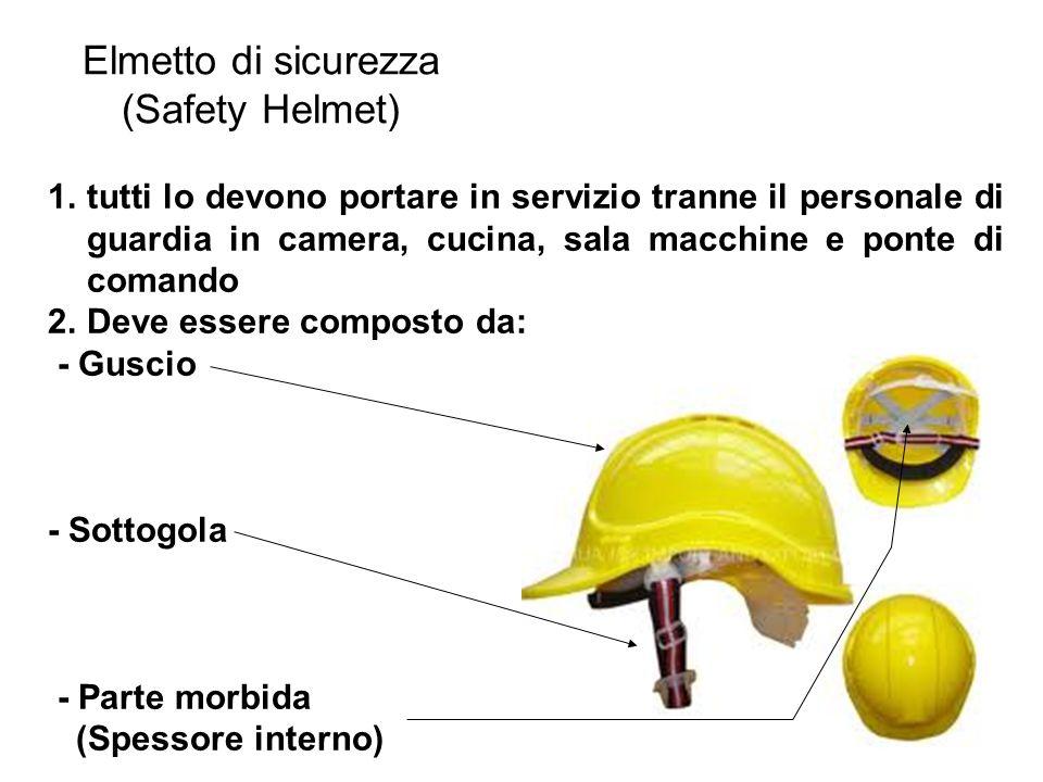Elmetto di sicurezza (Safety Helmet) 1.tutti lo devono portare in servizio tranne il personale di guardia in camera, cucina, sala macchine e ponte di