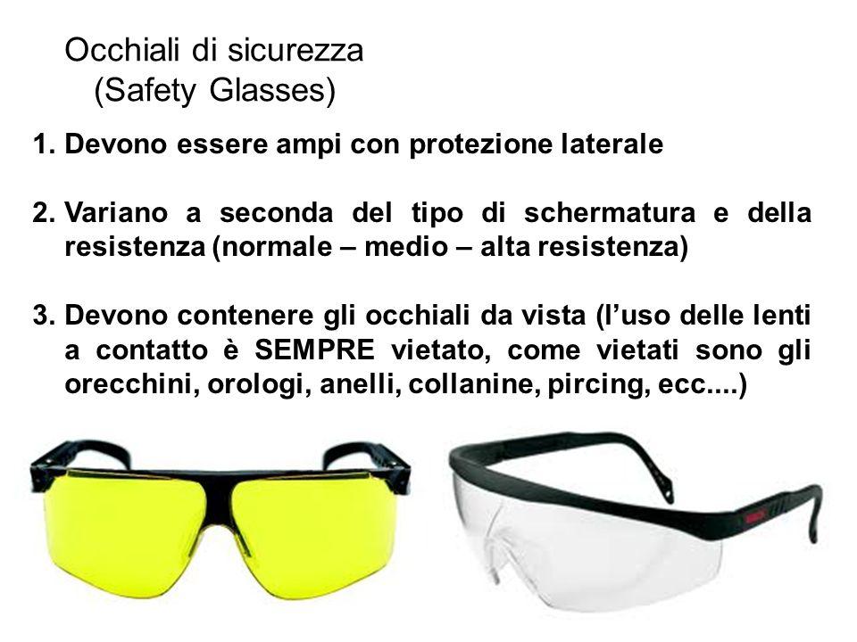 Occhiali di sicurezza (Safety Glasses) 1.Devono essere ampi con protezione laterale 2.Variano a seconda del tipo di schermatura e della resistenza (no