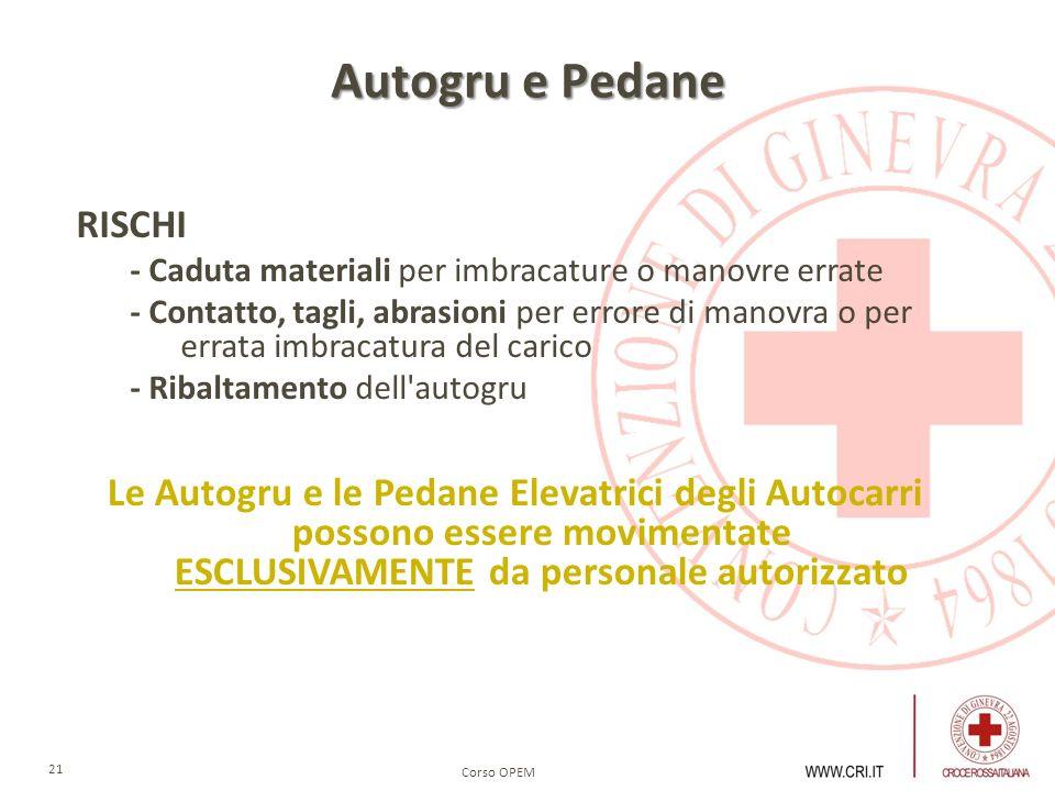 Corso OPEM 21 Autogru e Pedane RISCHI - Caduta materiali per imbracature o manovre errate - Contatto, tagli, abrasioni per errore di manovra o per err