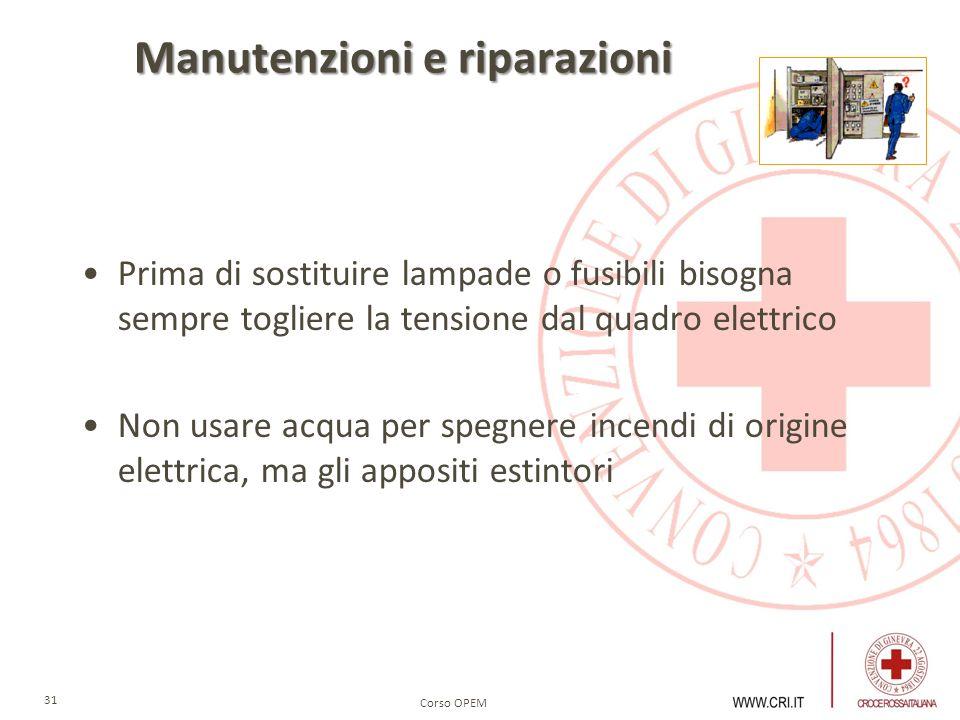 Corso OPEM 31 Manutenzioni e riparazioni Prima di sostituire lampade o fusibili bisogna sempre togliere la tensione dal quadro elettrico Non usare acq