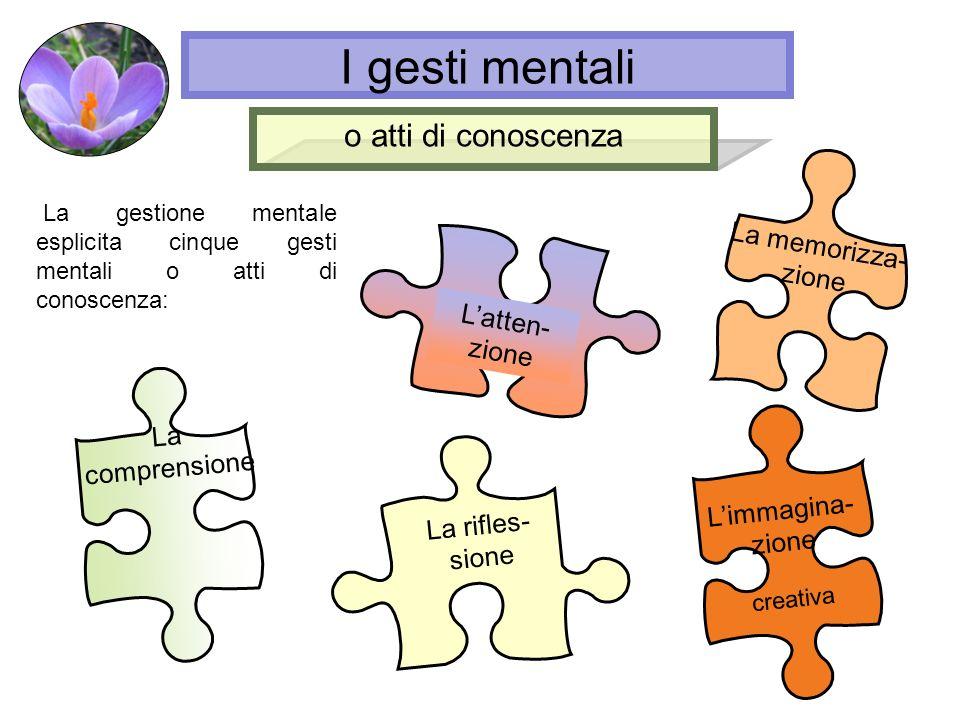 La gestione mentale esplicita cinque gesti mentali o atti di conoscenza: Latten- zione La memorizza- zione La comprensione La rifles- sione o atti di