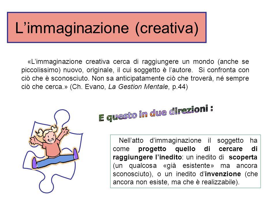 Limmaginazione (creativa) Nellatto dimmaginazione il soggetto ha come progetto quello di cercare di raggiungere linedito: un inedito di scoperta (un q
