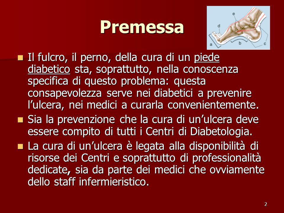 2 Premessa Il fulcro, il perno, della cura di un piede diabetico sta, soprattutto, nella conoscenza specifica di questo problema: questa consapevolezz