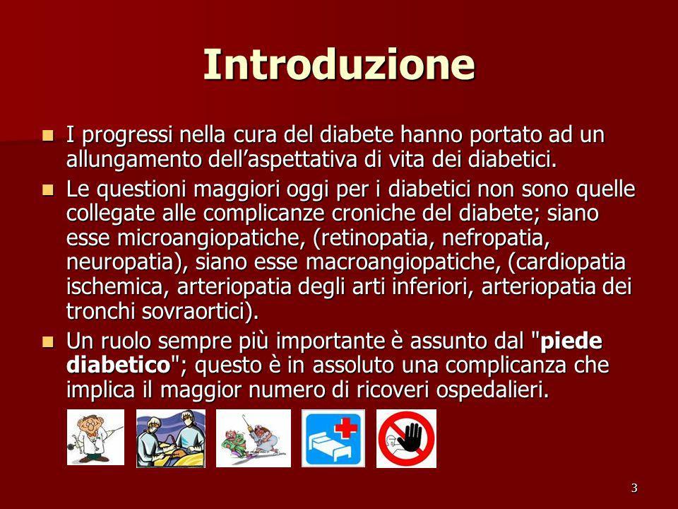 3 Introduzione I progressi nella cura del diabete hanno portato ad un allungamento dellaspettativa di vita dei diabetici. I progressi nella cura del d