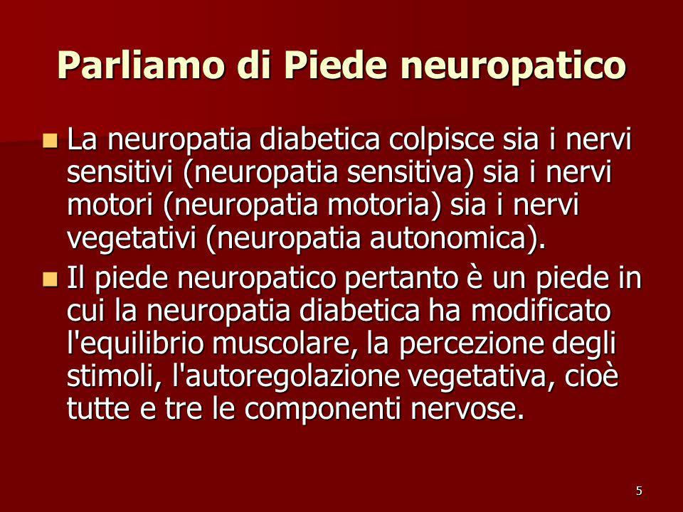 5 Parliamo di Piede neuropatico La neuropatia diabetica colpisce sia i nervi sensitivi (neuropatia sensitiva) sia i nervi motori (neuropatia motoria)