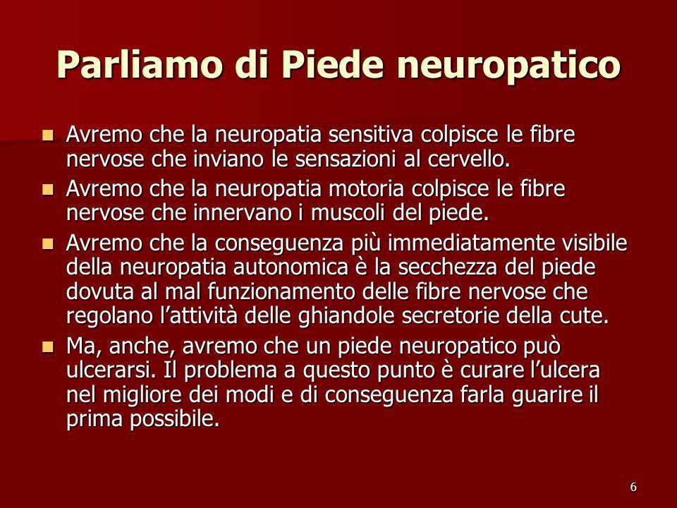 6 Parliamo di Piede neuropatico Avremo che la neuropatia sensitiva colpisce le fibre nervose che inviano le sensazioni al cervello. Avremo che la neur