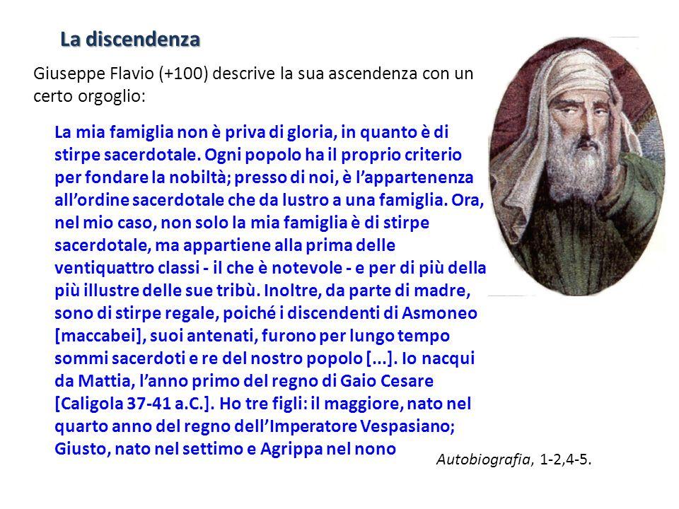 La discendenza Giuseppe Flavio (+100) descrive la sua ascendenza con un certo orgoglio: La mia famiglia non è priva di gloria, in quanto è di stirpe s