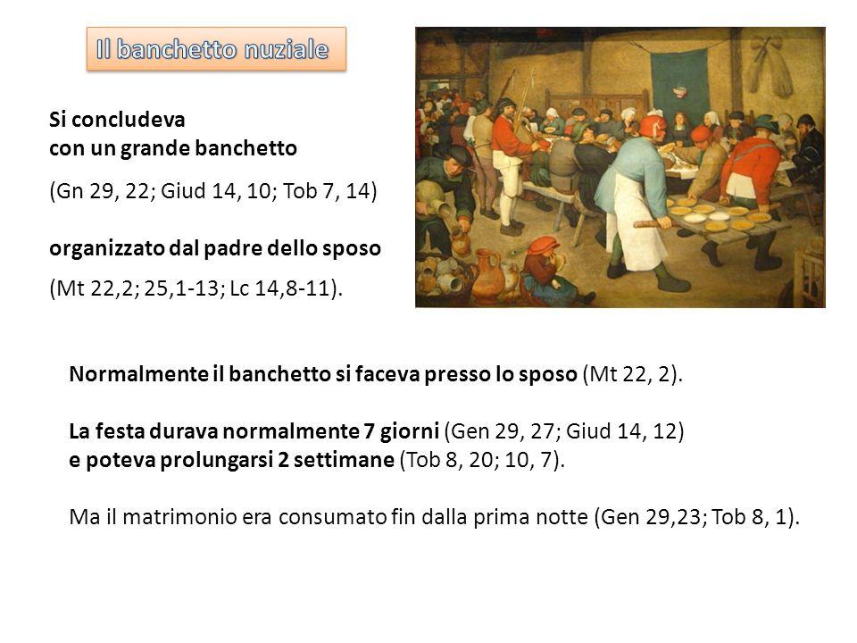 Normalmente il banchetto si faceva presso lo sposo (Mt 22, 2). La festa durava normalmente 7 giorni (Gen 29, 27; Giud 14, 12) e poteva prolungarsi 2 s