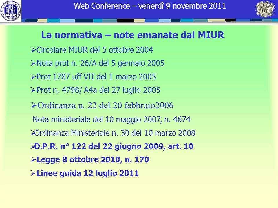 Web Conference – venerdì 9 novembre 2011 La normativa – note emanate dal MIUR Circolare MIUR del 5 ottobre 2004 Nota prot n. 26/A del 5 gennaio 2005 P