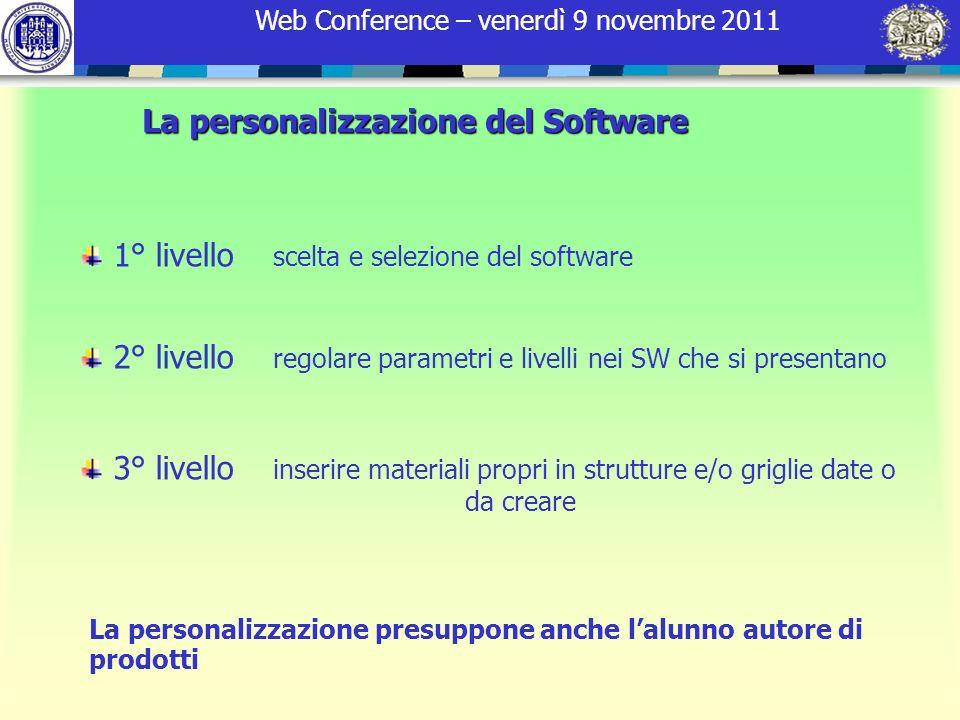Web Conference – venerdì 9 novembre 2011 La personalizzazione del Software 1° livello scelta e selezione del software 2° livello regolare parametri e