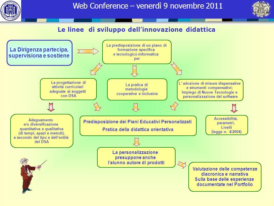 Web Conference – venerdì 9 novembre 2011 Le linee di sviluppo dellinnovazione didattica La progettazione di attività curricolari adeguate ai soggetti