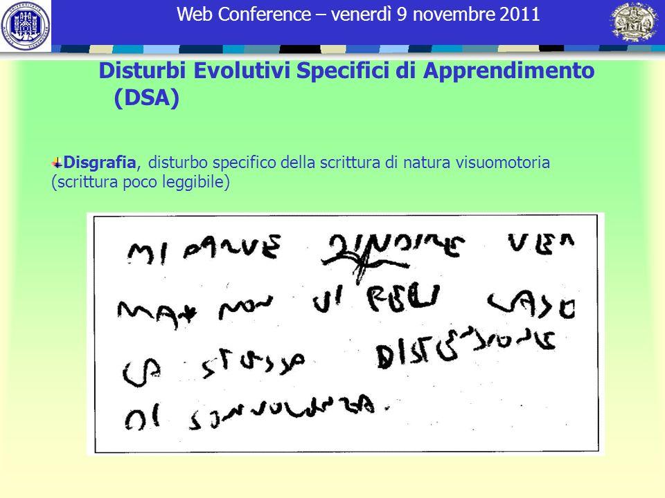 Web Conference – venerdì 9 novembre 2011 Disgrafia, disturbo specifico della scrittura di natura visuomotoria (scrittura poco leggibile) Disturbi Evol