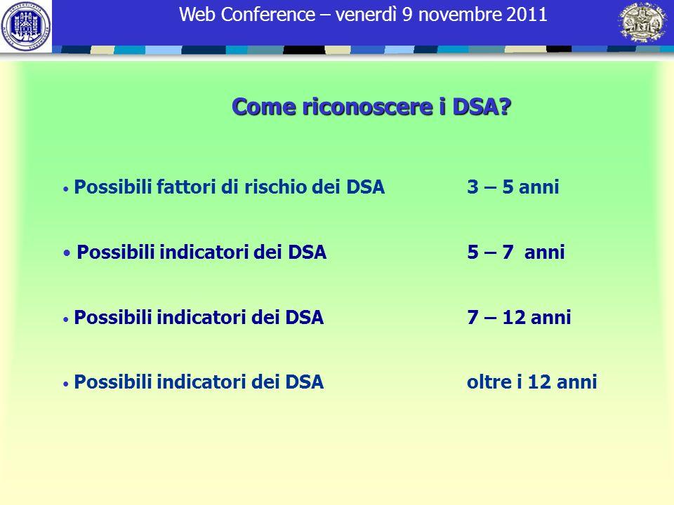 Web Conference – venerdì 9 novembre 2011 Come riconoscere i DSA? Possibili fattori di rischio dei DSA 3 – 5 anni Possibili indicatori dei DSA 5 – 7 an