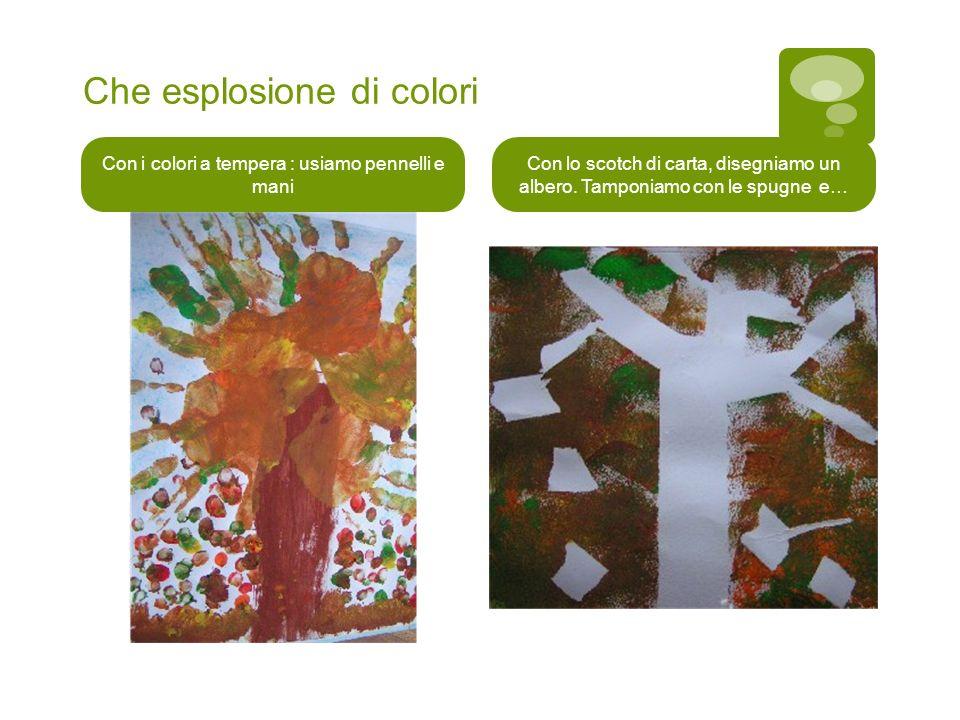 Che esplosione di colori Con i colori a tempera : usiamo pennelli e mani Con lo scotch di carta, disegniamo un albero. Tamponiamo con le spugne e…