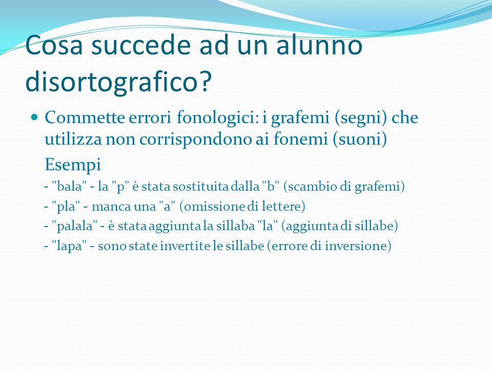 Cosa succede ad un alunno disortografico? Commette errori fonologici: i grafemi (segni) che utilizza non corrispondono ai fonemi (suoni) Esempi -