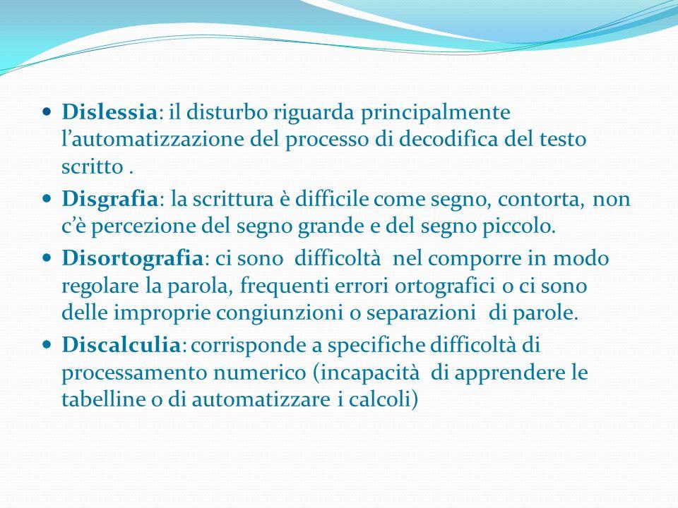 Dislessia: il disturbo riguarda principalmente lautomatizzazione del processo di decodifica del testo scritto. Disgrafia: la scrittura è difficile com