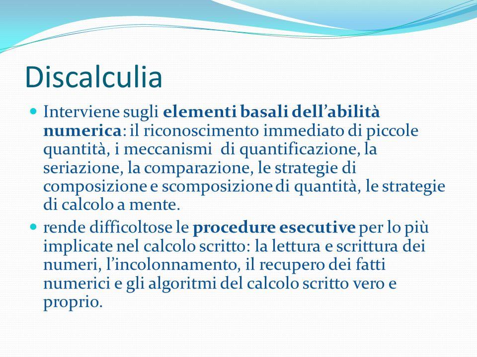 Discalculia Interviene sugli elementi basali dellabilità numerica: il riconoscimento immediato di piccole quantità, i meccanismi di quantificazione, l
