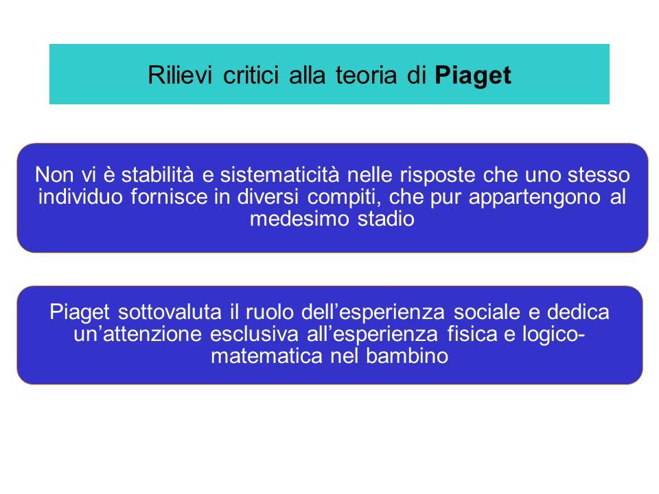 Rilievi critici alla teoria di Piaget Non vi è stabilità e sistematicità nelle risposte che uno stesso individuo fornisce in diversi compiti, che pur