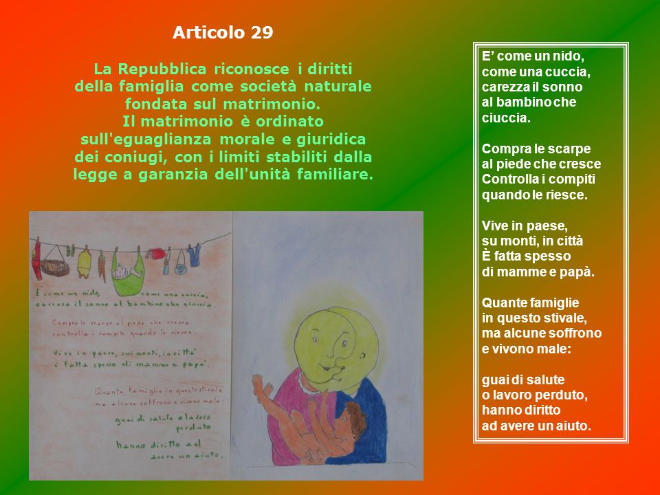 Articolo 29 La Repubblica riconosce i diritti della famiglia come società naturale fondata sul matrimonio. Il matrimonio è ordinato sull'eguaglianza m