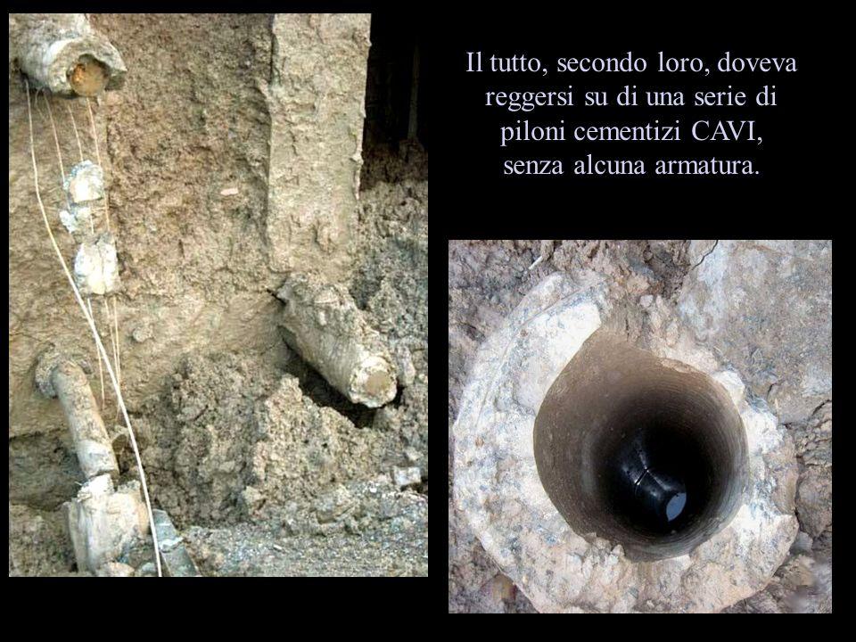 Il tutto, secondo loro, doveva reggersi su di una serie di piloni cementizi CAVI, senza alcuna armatura.