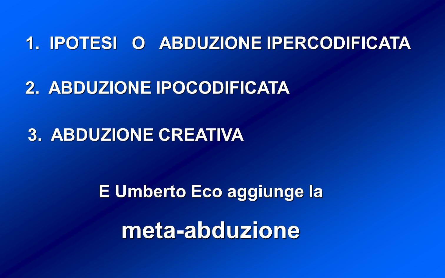 1.IPOTESI O ABDUZIONE IPERCODIFICATA 2. ABDUZIONE IPOCODIFICATA 3.