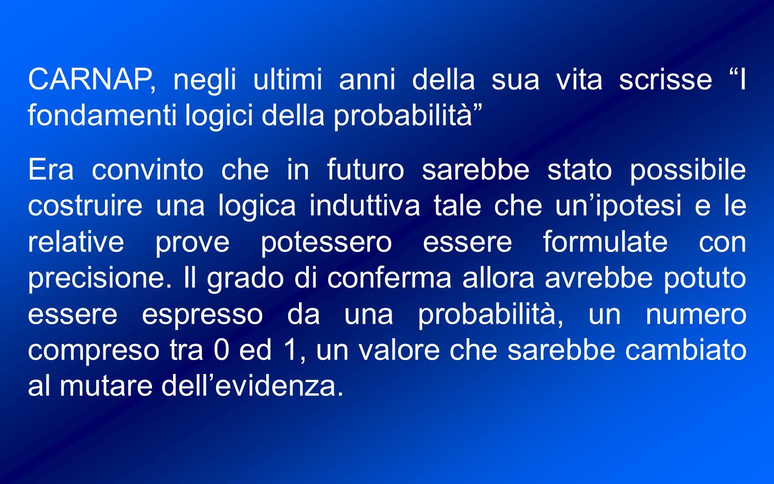 CARNAP, negli ultimi anni della sua vita scrisse I fondamenti logici della probabilità Era convinto che in futuro sarebbe stato possibile costruire una logica induttiva tale che unipotesi e le relative prove potessero essere formulate con precisione.