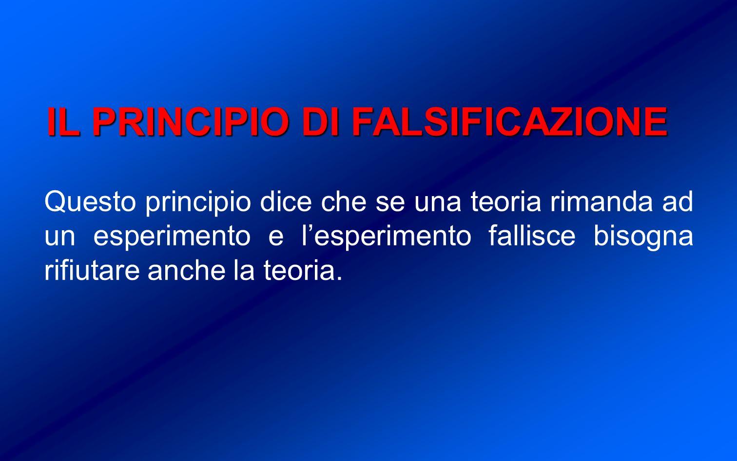 IL PRINCIPIO DI FALSIFICAZIONE Questo principio dice che se una teoria rimanda ad un esperimento e lesperimento fallisce bisogna rifiutare anche la teoria.