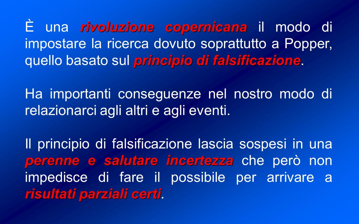 rivoluzione copernicana principio di falsificazione È una rivoluzione copernicana il modo di impostare la ricerca dovuto soprattutto a Popper, quello basato sul principio di falsificazione.