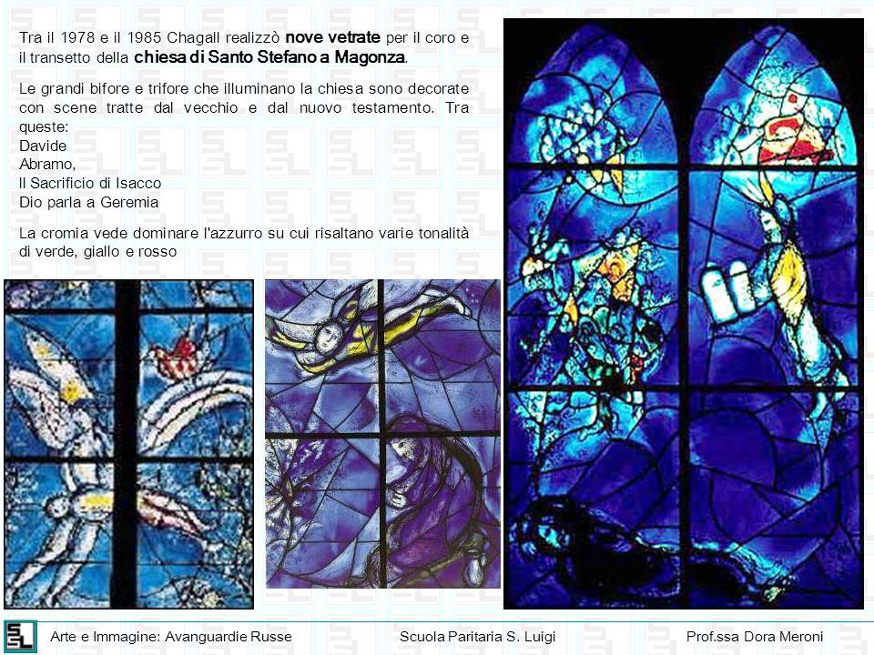 Arte e Immagine: Avanguardie RusseScuola Paritaria S. LuigiProf.ssa Dora Meroni Tra il 1978 e il 1985 Chagall realizzò nove vetrate per il coro e il t