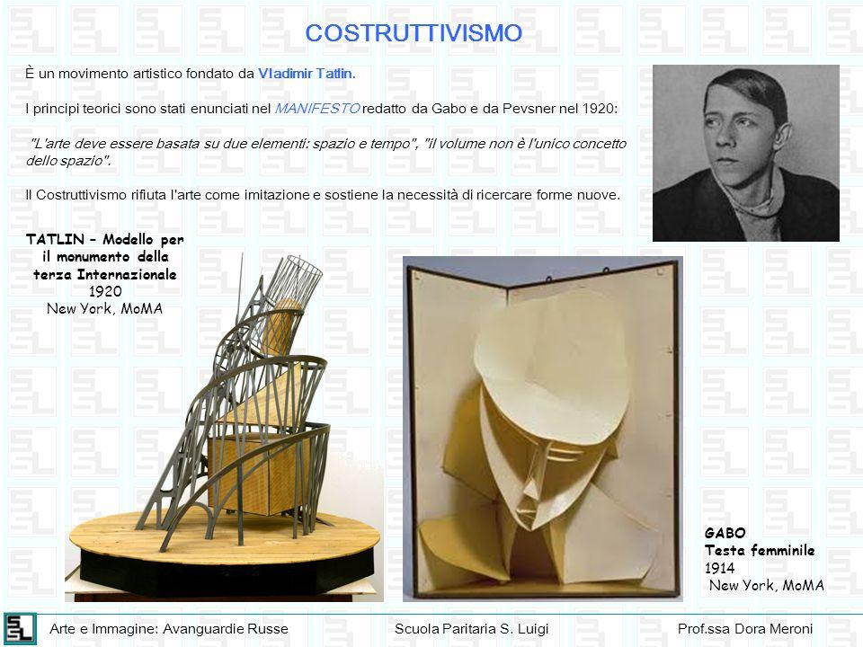 Arte e Immagine: Avanguardie RusseScuola Paritaria S. LuigiProf.ssa Dora Meroni COSTRUTTIVISMO È un movimento artistico fondato da Vladimir Tatlin. I