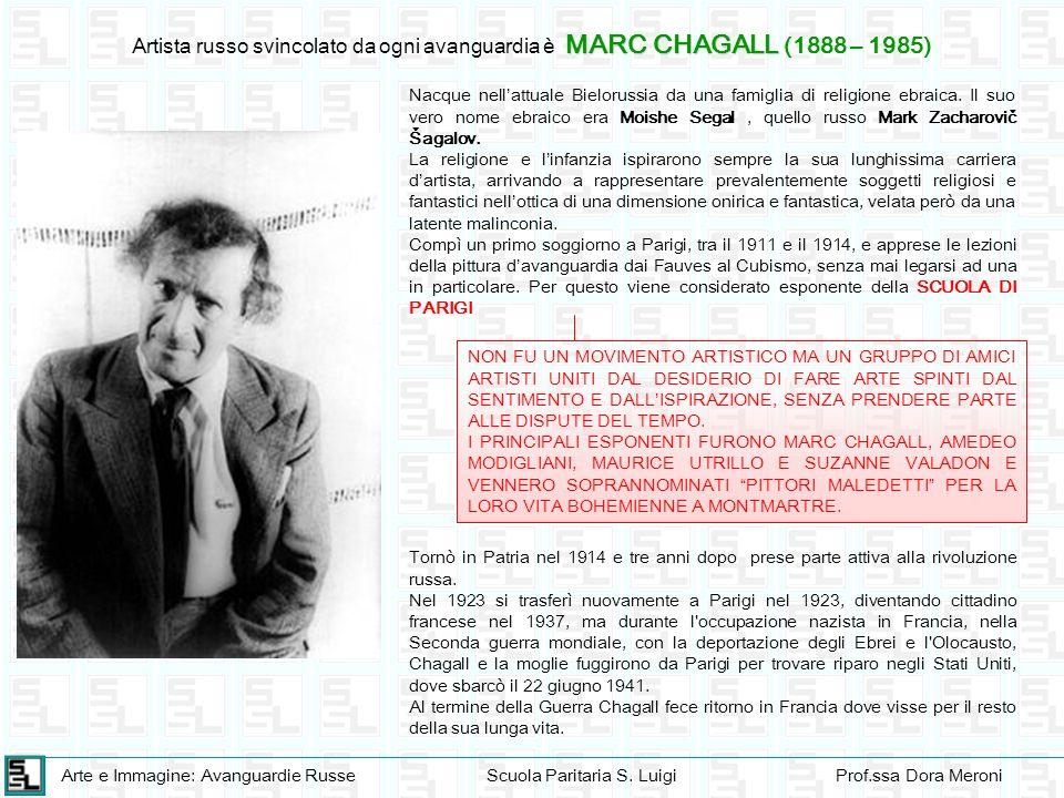 Arte e Immagine: Avanguardie RusseScuola Paritaria S. LuigiProf.ssa Dora Meroni MARC CHAGALL Artista russo svincolato da ogni avanguardia è MARC CHAGA