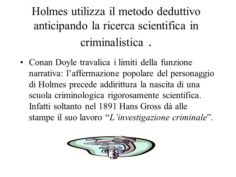 Il metodo di Holmes …la scienza della deduzione e dellanalisi non può essere acquisita che a prezzo di lunghi e pazienti studi… il ricercatore… impari