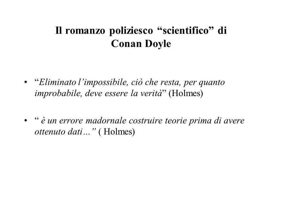 Holmes utilizza il metodo deduttivo anticipando la ricerca scientifica in criminalistica. Conan Doyle travalica i limiti della funzione narrativa: laf