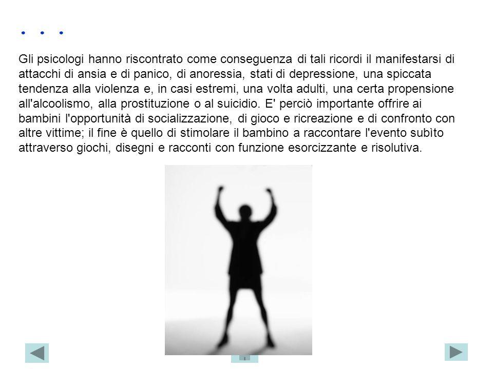 Gli psicologi hanno riscontrato come conseguenza di tali ricordi il manifestarsi di attacchi di ansia e di panico, di anoressia, stati di depressione,