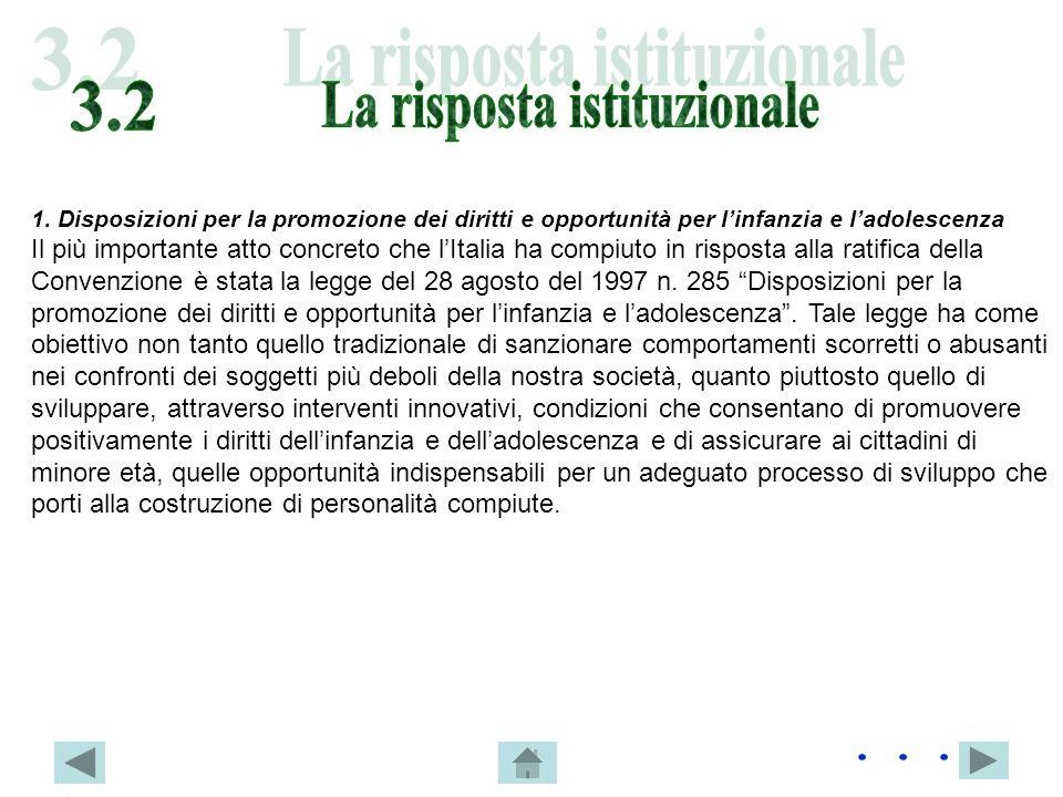 1. Disposizioni per la promozione dei diritti e opportunità per linfanzia e ladolescenza Il più importante atto concreto che lItalia ha compiuto in ri