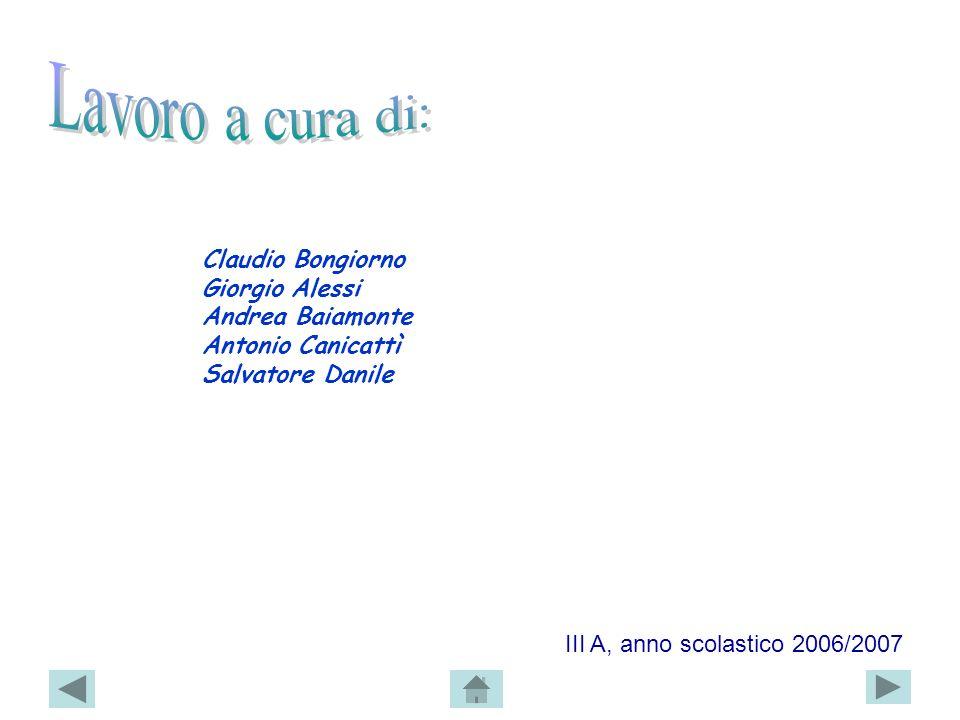 Claudio Bongiorno Giorgio Alessi Andrea Baiamonte Antonio Canicattì Salvatore Danile III A, anno scolastico 2006/2007