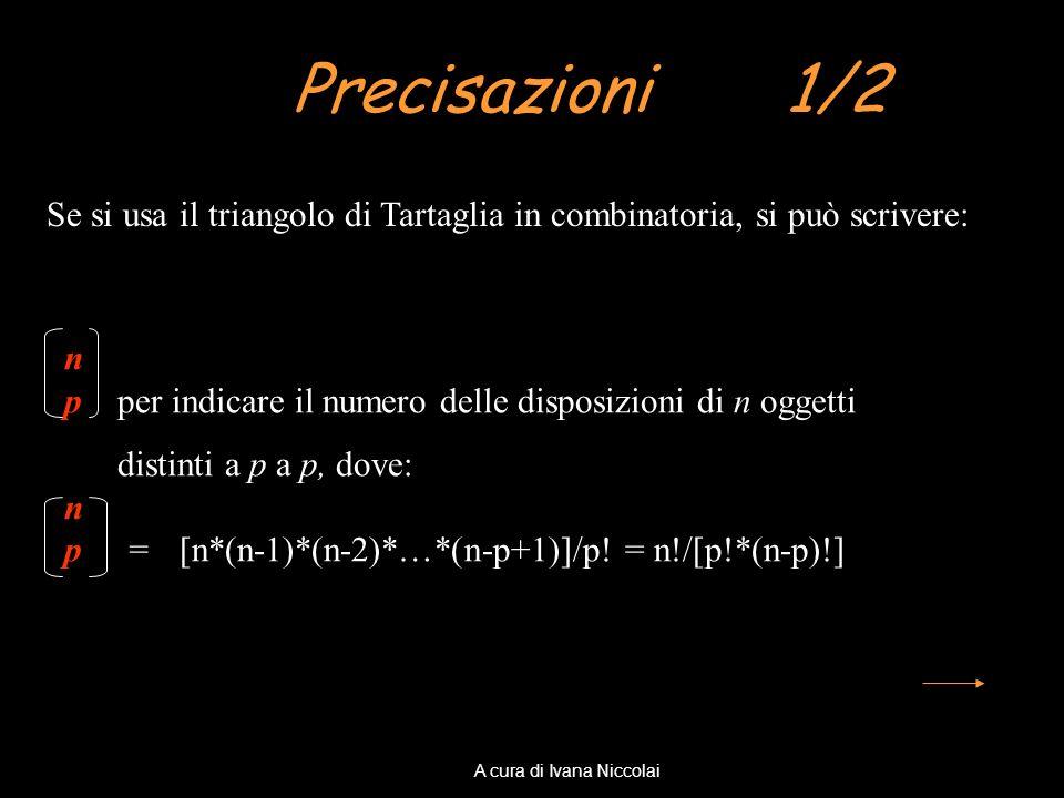 Precisazioni 1/2 Se si usa il triangolo di Tartaglia in combinatoria, si può scrivere: n p per indicare il numero delle disposizioni di n oggetti dist