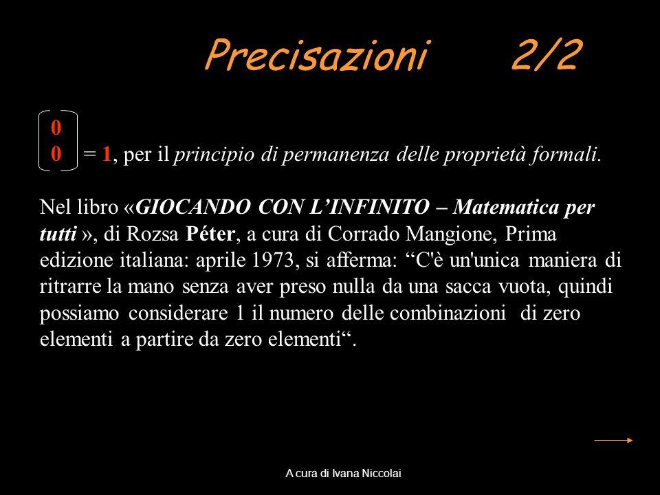 Precisazioni 2/2 0 0 = 1, per il principio di permanenza delle proprietà formali. Nel libro «GIOCANDO CON LINFINITO – Matematica per tutti », di Rozsa