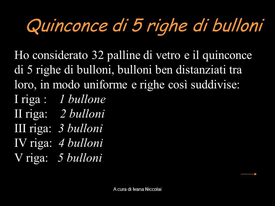 Quinconce di 5 righe di bulloni Ho considerato 32 palline di vetro e il quinconce di 5 righe di bulloni, bulloni ben distanziati tra loro, in modo uni
