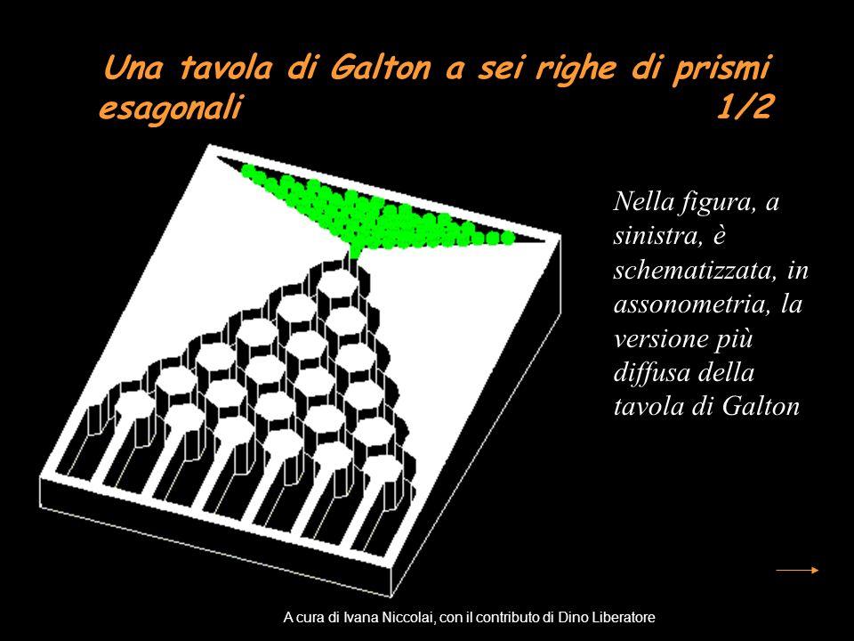 Una tavola di Galton a sei righe di prismi esagonali 1/2 Nella figura, a sinistra, è schematizzata, in assonometria, la versione più diffusa della tav